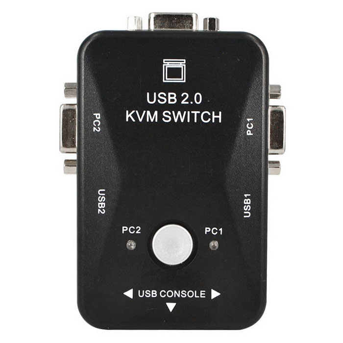 DIEWU 2-in 1-out 2-Port Manual USB 2.0 KVM Computer Switch - Black