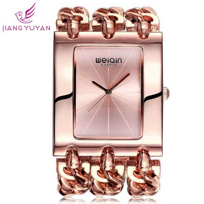 WeiQin Frauen Dial Square einfache Skala Uhr Armband - Rose Gold