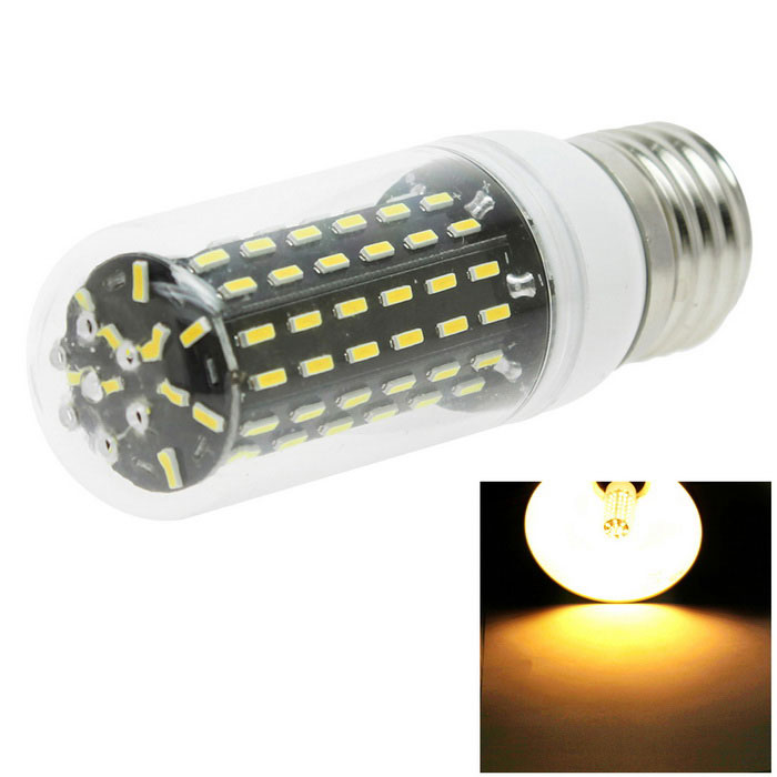 HONSCO E27 10W 96-4014 SMD LED Warm White Corn Bulb Light (AC 220V)E27<br>Color BINWarm WhiteMaterialPVC+PCBForm  ColorWhite + SilverQuantity1 DX.PCM.Model.AttributeModel.UnitPower10WRated VoltageAC 220 DX.PCM.Model.AttributeModel.UnitConnector TypeE27Chip BrandOthers,-Chip Type4014Emitter TypeLEDTotal Emitters96Theoretical Lumens700 DX.PCM.Model.AttributeModel.UnitActual Lumens650 DX.PCM.Model.AttributeModel.UnitColor Temperature3000KDimmableNoBeam Angle360 DX.PCM.Model.AttributeModel.UnitCertificationCE, RoHSPacking List1*LED bulb<br>