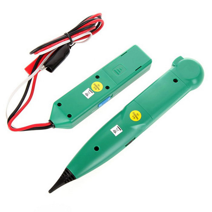MASTECH Network Cable Tester Cable Tracker Telephone - GreenOther Measuring &amp; Analysing Instruments<br>Form  ColorGreenModelN/AQuantity1 DX.PCM.Model.AttributeModel.UnitMaterialABSPowered ByOthers,6F22 (9V) batteryBattery Number1Battery included or notNoPacking List1*Transmitter1*Reciever1*Bag1*English user manual<br>