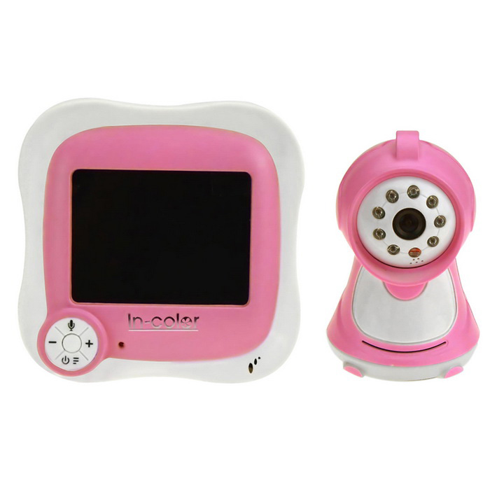 IN-Color Digital Wireless Video Baby Monitor - White + PinkBaby Monitor<br>Form  ColorWhite + Pink + Multi-ColoredPower AdapterEU PlugMaterialPlasticQuantity1 DX.PCM.Model.AttributeModel.UnitPixel50WLens3.6mmPicture Resolution640*480Video Resolution320*240 RGBFrame Rate16Image SensorCMOSVideo Compressed FormatNOMinimum Illumination850 DX.PCM.Model.AttributeModel.UnitNight VisionYesIR-LED Quantity8Night Vision Distance5 DX.PCM.Model.AttributeModel.UnitVideo FormatsOthers,-Memory CardNBuilt-in Memory / RAMNoSupported LanguagesEnglishViewing Angle90 DX.PCM.Model.AttributeModel.UnitWater-proofYesPower AdaptorYesRated Current3 DX.PCM.Model.AttributeModel.UnitRate Voltage5VRotation90 DX.PCM.Model.AttributeModel.UnitMotorNoWireless / WiFiNoMobile Phone platformN/ASIM SlotOthersCertificationRoHS CE FCCPacking List1*Wireless Monitor1*Wireless Camera 1*Bracket for Camera1*Antenna2*Adapters (AC100-240V 1000mA cable:109cm)1*AV cable (110cm)1*English Manual<br>