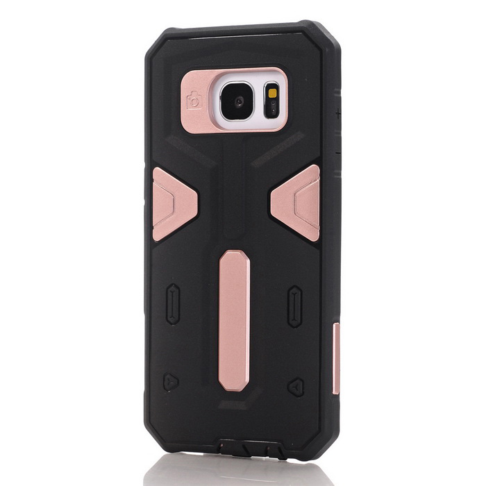 TPU + PC Back Case for Samsung Galaxy S7 Edge - Black + Gold
