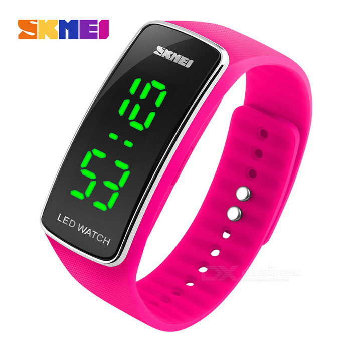 Buy SKMEI 1119 Waterproof Sports Timing LED Watch - Deep Pink (1*CR1220) with Litecoins with Free Shipping on Gipsybee.com