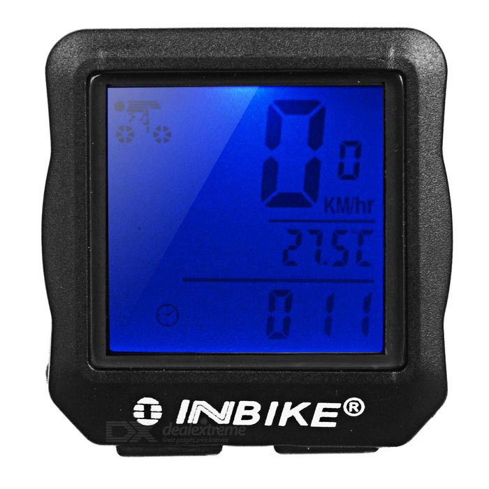 INBIKE Waterproof Full Screen Backlight Bicycle Stopwatch - BlackBike Computer<br>Form  ColorBlackQuantity1 DX.PCM.Model.AttributeModel.UnitMaterialPVCScreen Size1.6 DX.PCM.Model.AttributeModel.UnitBattery TypeCR2032 batteryBattery Number1Battery included or notYesWaterproofYesBacklightBluePacking List1*Bicycle speed meter1*Chinese user manual1*Sensor (86+/-2cm)1*Magnet7*Cable ties2*Rubber pads<br>