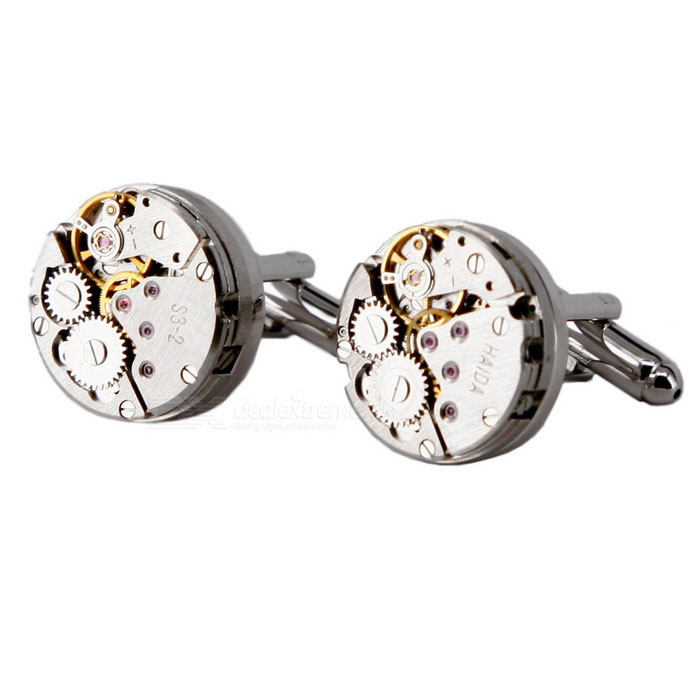 Buy Jewelry Brass Watch Movement Style Cufflinks - Silver + Gold (Pair) with Litecoins with Free Shipping on Gipsybee.com