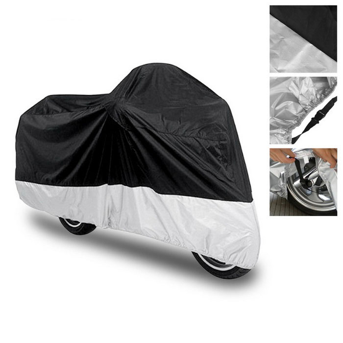 Buy Motorcycle Waterproof Rainproof Anti-UV Dustproof Cover - Black+Silver with Litecoins with Free Shipping on Gipsybee.com