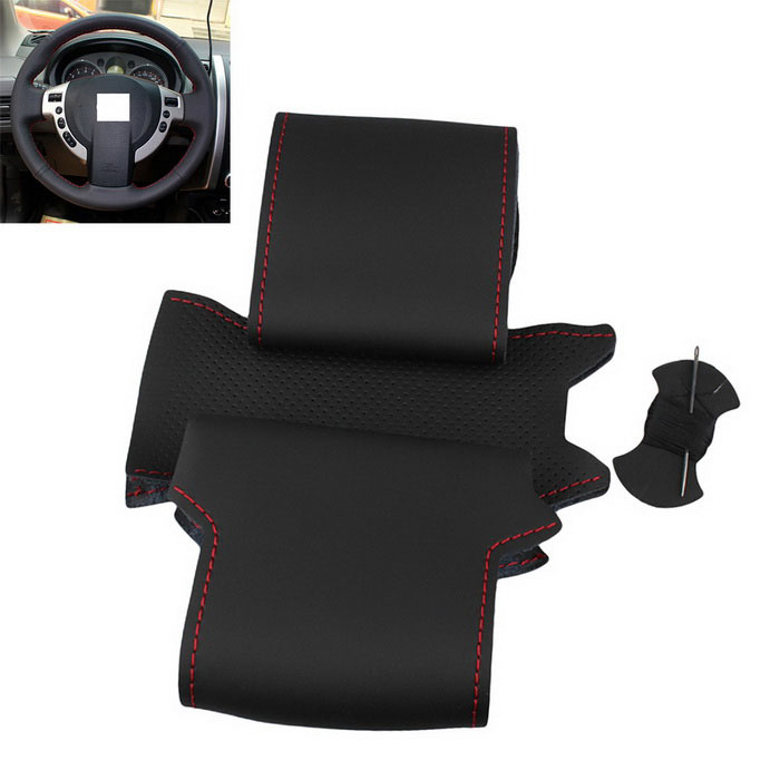 ZIQIAO Genuine Leather Car Steering Wheel Cover - Black + RedOther Interior<br>Form  ColorBlack + Red + Multi-ColoredModelN/AQuantity1 DX.PCM.Model.AttributeModel.UnitMaterialGenuine LeatherPacking List1 * Steering wheel cover1 * Steel needle1 * Thread1 * Double sided tape<br>