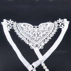 Sexig Lace Heart-Shaped Pattern Pearls Thong - White (Free Size)
