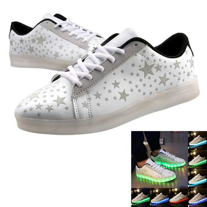 Buy USB Charging 7 Colors of LED Light Sneakers Shoes - White (Size 44) with Litecoins with Free Shipping on Gipsybee.com