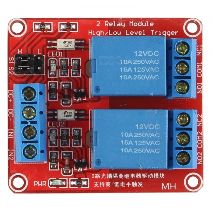 Buy 12V 5mA 2-Channel Relay Module With Optocoupler Isolation - Red + Blue with Litecoins with Free Shipping on Gipsybee.com