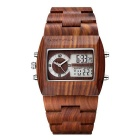 Double Mouvement Sandalwood Cadran Montre de JIANGYUYAN Men - Brown