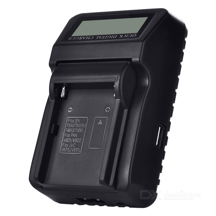 "Multi-functional 1.8"" LCD Battery Charger - Black (EU Plug)"