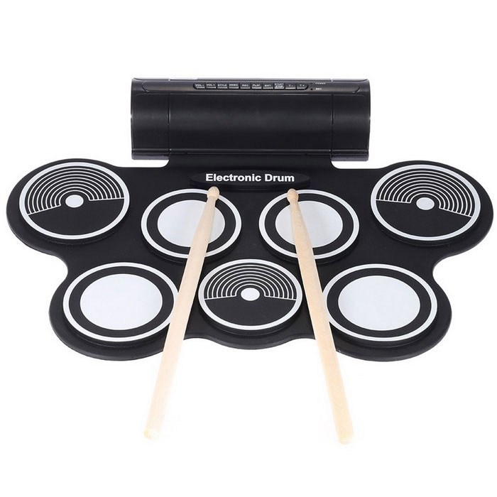 Buy Portable Folding Electronic Drum - Black + White with Litecoins with Free Shipping on Gipsybee.com