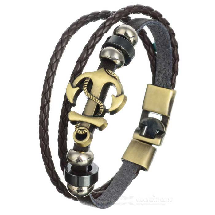 Fashionable Leather + Alloy Multi-layer Bracelet - Brown + BronzeBracelets<br>Form  ColorBrown + BrassQuantity1 DX.PCM.Model.AttributeModel.UnitShade Of ColorBrownMaterialLeather + bronzeGenderUnisexSuitable forAdultsBracelet Length21 DX.PCM.Model.AttributeModel.UnitBracelet Width2.3 DX.PCM.Model.AttributeModel.UnitPacking List1 * Bracelet<br>