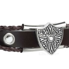 Unisex Fashion Genuine Leather Beaded Bracelet - Brown + Silver