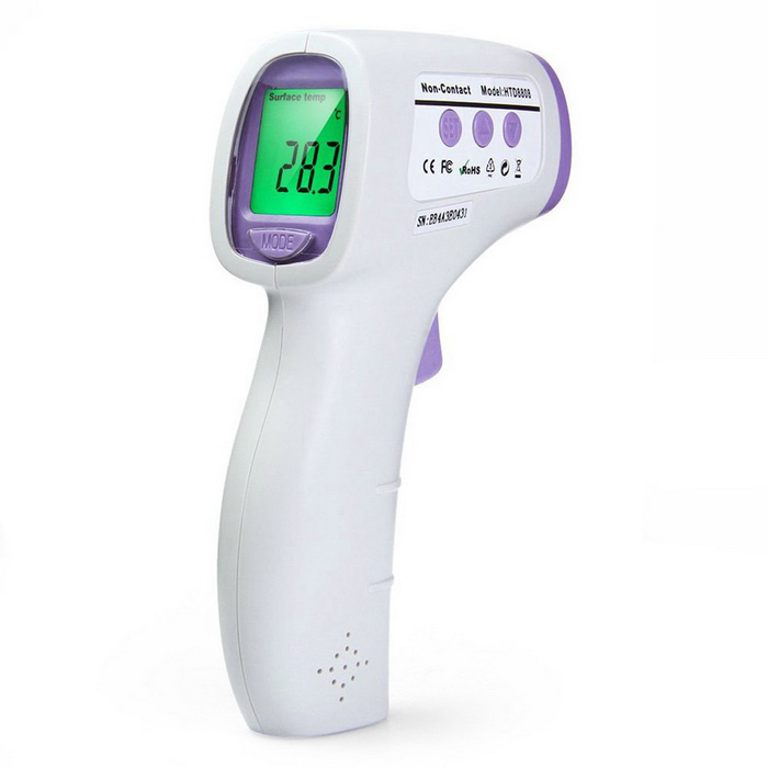 "HTD8808 1.2"" LCD Non-Contact Infrared Body Thermometer- White + Purple"