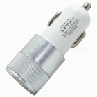 2.1A / 1A Dual USB Billaddare till Mobile / Table - Silver + Vit
