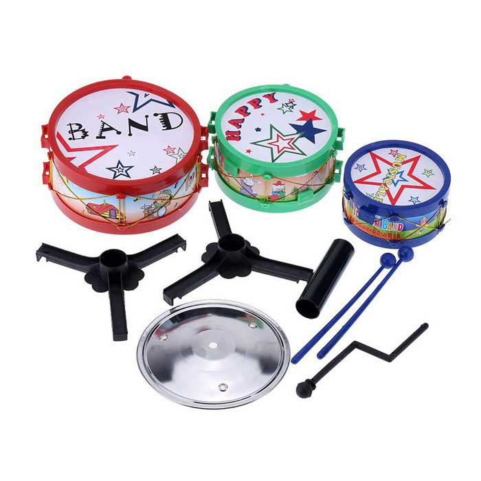 Small Jazz Drum Set Kids Electronic Plastic Gift Toy Red Blue