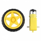 DC Drive Gear Motor + Tyre for Smart Car Robot - Black + Yellow