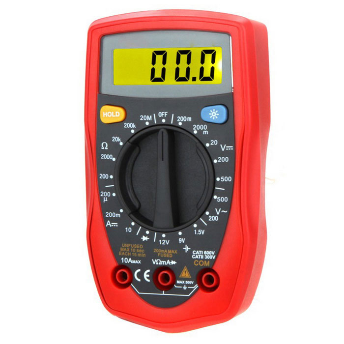 "2,5"" LCD Palm Size DMM Digital Multimeter - Svart + Röd"