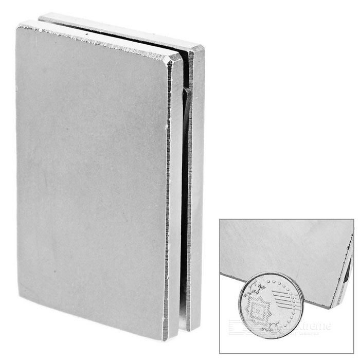 60*40*5mm Rectangular Rare Earth Permanent NdFeB Magnet - Silver(2PCS)