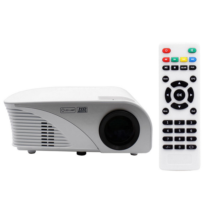 Купить со скидкой Portable 1080P HD LED LCD Projector Home Theater w/ HDMI - White