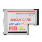 2-Port USB 3.0 Express Card 54mm for bærbare datamaskiner - Sølv + Svart