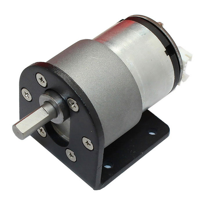 High Torque DC12V 320rpm Hall Encoder Reduction Gear Motor - Black