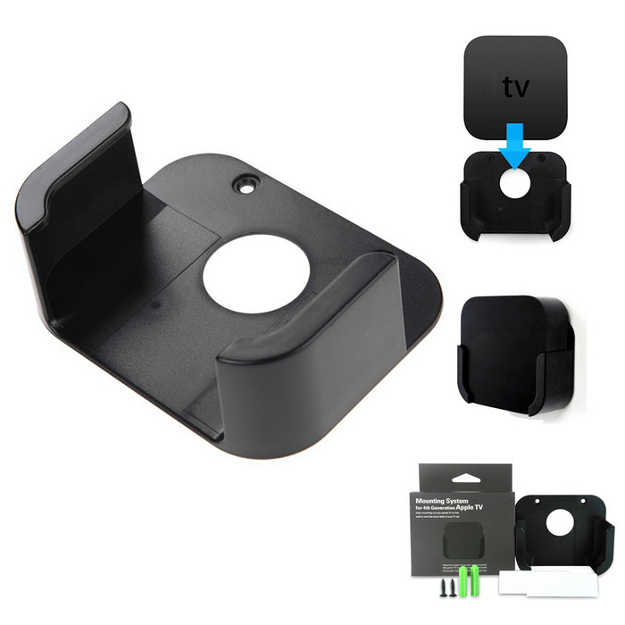 TV Box Wall Mounting Kit Case Bracket Holder Tray Stand - BlackOther TV Accessories<br>Form  ColorBlackModelTV4MaterialABSQuantity1 DX.PCM.Model.AttributeModel.UnitShade Of ColorBlackPower AdapterWithout Power AdapterPacking List1 * Holder2 * Plastic expansion2 * Screws2 * Magic stickers<br>