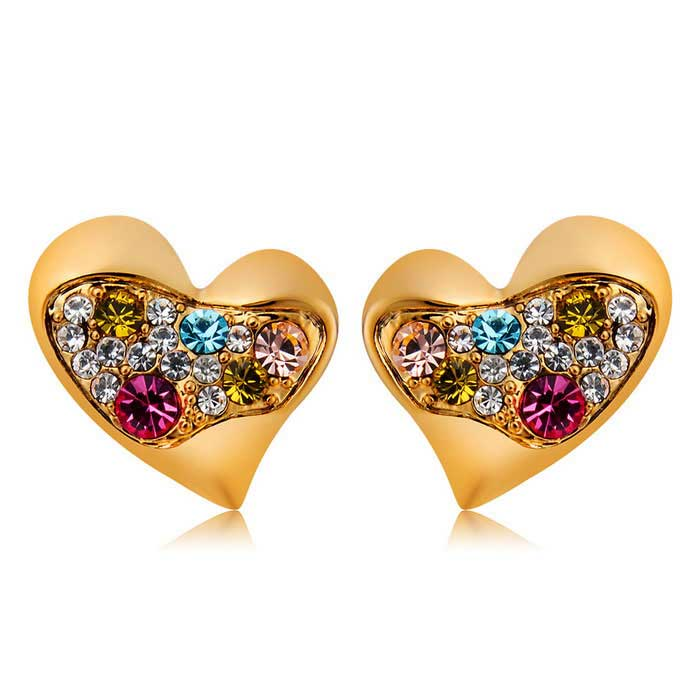 Buy Xinguang Women's Symmetric Hearts Design Earrings - Golden (Pair) with Litecoins with Free Shipping on Gipsybee.com