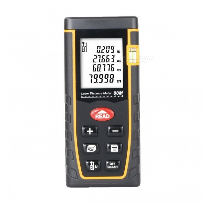 80m 1.8 LCD Laser Distance Meter Range Finder - Black + OrangeLaser Rangefinder, Electronic Distance Meter<br>Form  ColorBlack + orangeModel-Quantity1 DX.PCM.Model.AttributeModel.UnitMaterialABSDetection Range0.05~80mMeasuring Accuracy+/-2mmLaser Level635nm, Max.Storage30 unitsDisplay1.8 LCDPowered ByAAA BatteryBattery included or notNoEnglish Manual / SpecYesPacking List1 * Laser distance meter (2 * AAA, not included)1 * English user manual1 * Pouch1 * Strap (17+/-2cm)<br>
