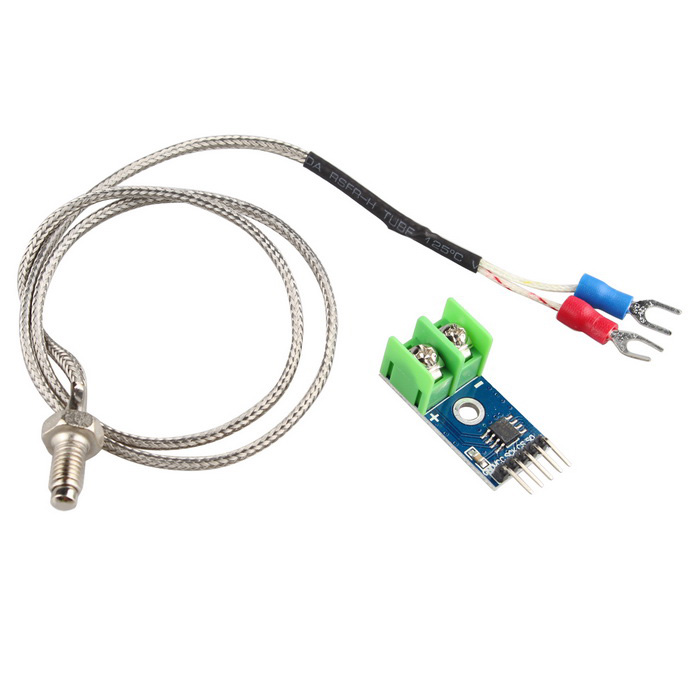 MAX6675 Type K Thermocouple Temperature Sensor Module - Blue + SilverSensors<br>Form ColorBlue + SilverModel-Quantity1 DX.PCM.Model.AttributeModel.UnitMaterialFR4 + Plastic + ironApplicationFor Arduino Raspberry Pi etc.Working Voltage   3~5 DX.PCM.Model.AttributeModel.UnitEnglish Manual / SpecYesDownload Link   http://pan.baidu.com/s/1c1H8PjEPacking List1 * MAX6675 Module1 * K Type Thermocouple Thermocouple Sensor<br>