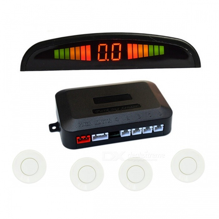 0.6 Wired 4 Parking Sensors Car Reversing Radar System - WhiteParking Sensors<br>Form  ColorWhiteModelN/AQuantity1 DX.PCM.Model.AttributeModel.UnitMaterialABS casingFunctionCar parking / reversing radar systemShade Of ColorWhiteSensor ColorWhiteSensor Qty.4Sensor Diameter2.3 DX.PCM.Model.AttributeModel.UnitDetecting Distance0.3~2.5 DX.PCM.Model.AttributeModel.UnitScreen Size0.6Monitor TypeLEDOthers Features of MirrorCrescent LED heartbeat type gradually display, number + voice prompt step by step.Water-proofIP65Power SupplyDC 12VWarning Distance 0.3~1.5 DX.PCM.Model.AttributeModel.UnitError Range1 DX.PCM.Model.AttributeModel.UnitAlarm Volume70~85 DX.PCM.Model.AttributeModel.UnitUltrasonic Frequency40 DX.PCM.Model.AttributeModel.UnitWorking Voltage   DC 12 DX.PCM.Model.AttributeModel.UnitRated Current20~200 DX.PCM.Model.AttributeModel.UnitWorking Temperature-30~70 DX.PCM.Model.AttributeModel.UnitPacking List1 * Main control box 1 * LED monitor (590cm-cable)4 * Sensors (245cm-cable)1 * Power cable (100cm) 1 * Sensor drill2 * Double-sided stickers1 * English user manual<br>