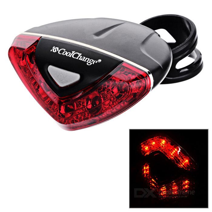 Cool Change 5-LED Red Bike Warning Lamp Tail Light - Black + Red