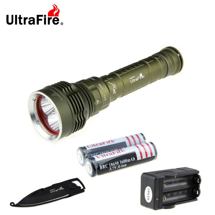 Ultrafire XM-L2 U2 5-L2 3-Mode Diving Flashlight Cold White LightDiving Flashlights<br>Form  ColorArmy GreenModelU-N88Quantity1 DX.PCM.Model.AttributeModel.UnitMaterialAluminiumEmitter BrandCreeLED TypeXM-L2Emitter BINU2Color BINCold WhiteNumber of Emitters5Actual Lumens4448 DX.PCM.Model.AttributeModel.UnitPower Supply2 * 18650 / 26650 batteriesWorking Voltage   7.2~8.4 DX.PCM.Model.AttributeModel.UnitCurrent2800 DX.PCM.Model.AttributeModel.UnitRuntime2~3 DX.PCM.Model.AttributeModel.UnitNumber of Modes3Mode ArrangementOthers,Low, middle, flashMode MemoryNoSwitch TypeReverse clickySwitch LocationOthers,Central KnobLens MaterialGlassReflectorAluminum SmoothWorking Depth Underwater197 DX.PCM.Model.AttributeModel.UnitStrap/ClipNoPacking List1 * Flashlight (equipped with two 18650 sleeves )2 * 18650 batteries (1800mAh)1 * 18650 battery dual charger (US plug, Input:100 ~ 240V, AC 50 / 60Hz; Output: 4.2V 650mAh)1 * Multi-function keychain knife<br>