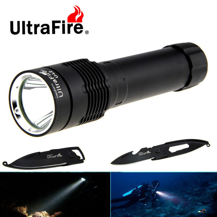 Ultrafire XM-L2 889lm Diving Flashlight + Multi-purpose Keychain Knife