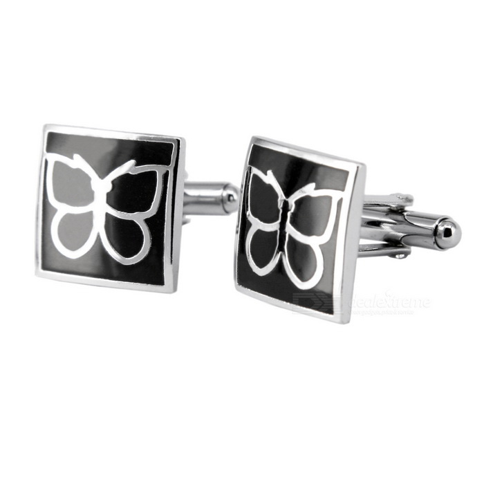 Buy Men's Butterfly Pattern Cufflinks - Silver + Black (Pair) with Litecoins with Free Shipping on Gipsybee.com