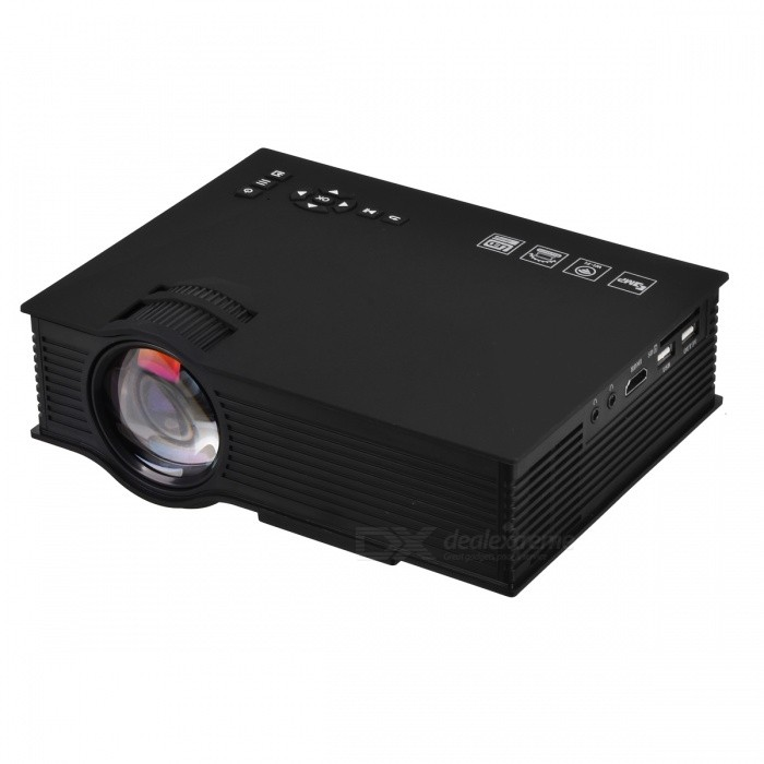 Wireless Mini Portable Full HD LED Video Home Cinema Projector - BlackProjectors<br>Form  ColorBlackBrandOthers,-Quantity1 DX.PCM.Model.AttributeModel.UnitMaterialABSShade Of ColorBlackOperating SystemAndroid 4.2,Windows 8.1TypeLCDBrightness1000~1999 lumensBrightness1200 DX.PCM.Model.AttributeModel.UnitMenu LanguageEnglish,Chinese SimplifiedBuilt-in SpeakersYesEmitter BINLEDLens EffectsFish eyeDisplay Size34-130inchAspect Ratio4:3Contrast Ratio800:1Native Resolution800*480Maximum Resolution1080PMaximum Resolution1920*1080Throw Distance1-3.8MBuilt-in Memory / RAMNoStorageNoExternal Memory32GBAudio FormatsMP3,WMA,OGG,AACVideo FormatsAVI,DIVX,MKV,MP4,FLV,MPG,H.264,MPEG1Picture FormatsJPEG,BMP,PNGInput ConnectorsAV,VGA,USB,HDMI,WiFiInput ConnectorsUSB/HDMI/AV/VGAOutput Connectors3.5mm earphonePower Consumption40~59WPower Consumption55WPower AdapterUS PlugPacking List1 * Projector1 * Remote Control (2 * AAA batteries, not included)1 * Power cable (150cm)1 * English Manual<br>