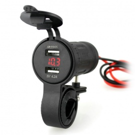 Iztoss-42A-Dual-USB-Charger-and-Red-LED-Light-Voltmeter-Black
