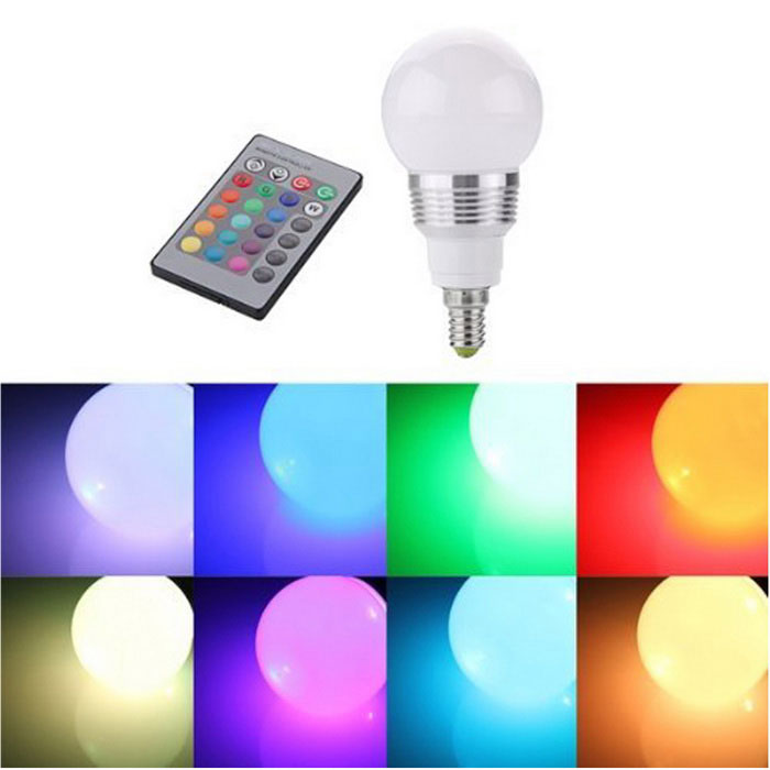 Buy KWB E14 3W RGB LED Light Bulb Lamp Spotlight with Remote Control with Litecoins with Free Shipping on Gipsybee.com