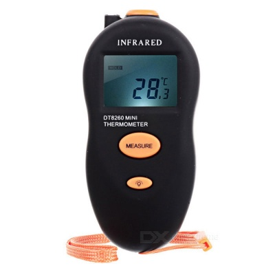 """DT8260 1.25"""" LCD Non-Contact Infrared Thermometer - Black + Orange"""
