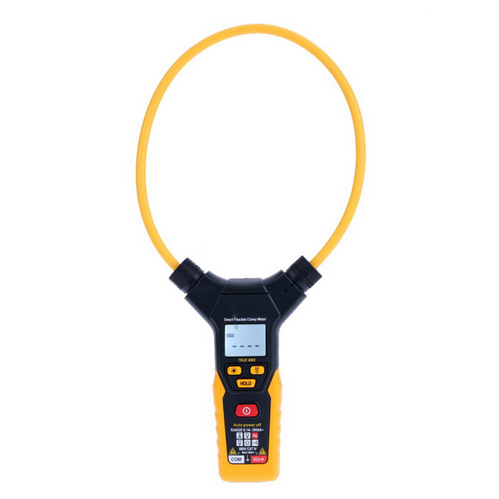 Handheld Digital LCD Clamp Multimeter Voltmeter - Yellow + Black