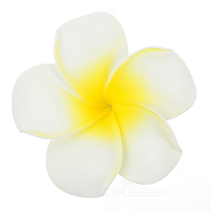 Buy Elegant Frangipani Hair Clip Hairpin - White + Yellow (L) with Litecoins with Free Shipping on Gipsybee.com