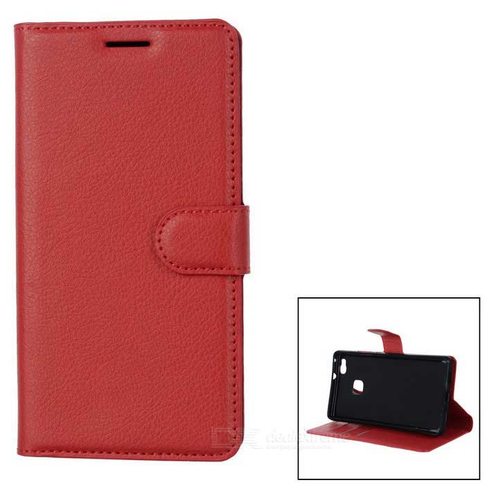 Lichee Pattern Protective Case for Huawei P9 Lite - Watermelon RedMetal Cases<br>Form  ColorWatermelon RedModel-MaterialPUQuantity1 DX.PCM.Model.AttributeModel.UnitShade Of ColorRedCompatible ModelsHuawei P9 LiteFeaturesAnti-slip,Shock-proof,Abrasion resistance,Easy-to-remove,Holder functionPacking List1 * Case<br>