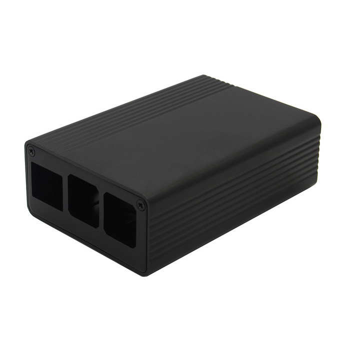 Aluminum Alloy Case with Light Pipe for Raspberry Pi 3 Model B - Black