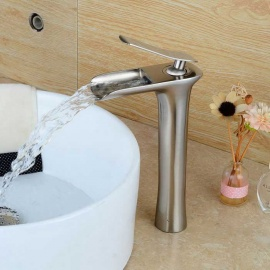 Waterfall-Nickel-Brushed-Finish-Bathroom-Sink-Faucet