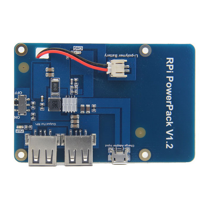 Lithium Battery Expansion Board for Raspberry Pi - Blå + Hvit