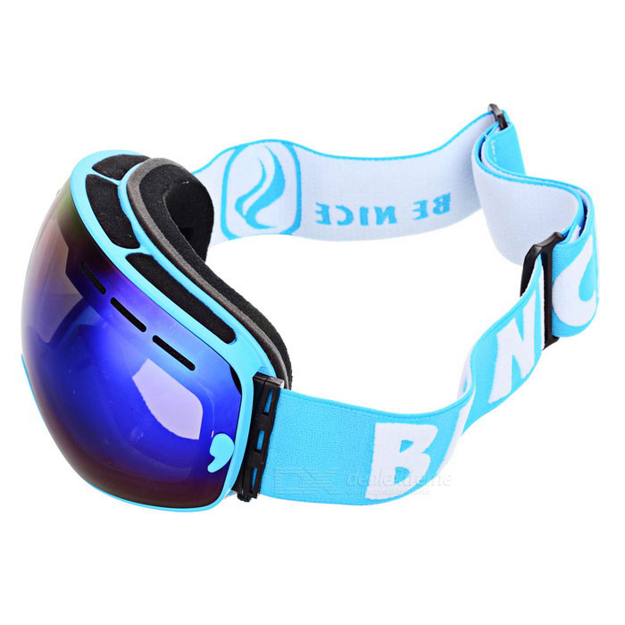 BE NICE SNOW3100 Anti-Fog Spherical Lens Skiing Goggles - BlueGoggles<br>Lens ColorBlue REVOFrame ColorBlueQuantity1 DX.PCM.Model.AttributeModel.UnitShade Of ColorBlueGenderUnisexSuitable forAdultsLens MaterialPC + UVLens Width17.3 DX.PCM.Model.AttributeModel.UnitFrame MaterialTPUFrame Height9.8 DX.PCM.Model.AttributeModel.UnitOverall Width of Frame17.7 DX.PCM.Model.AttributeModel.UnitBridge Width5 DX.PCM.Model.AttributeModel.UnitCertificationCEPacking List1 * Goggles1 * Pouch1 * Case1 * Chinese &amp; English user manual<br>