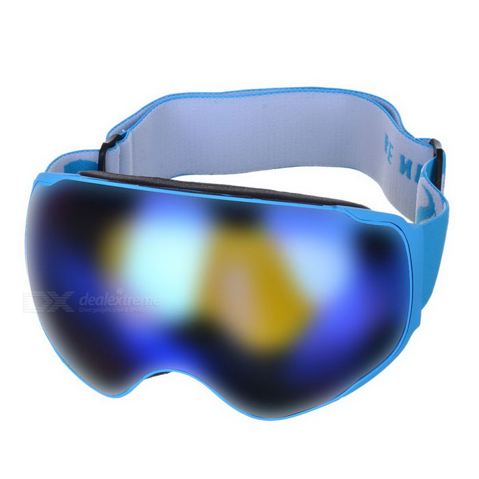 BE NICE SNOW4200 Anti-Fog Spherical Lens Skiing Goggles - BlueGoggles<br>Lens ColorBlue REVOFrame ColorBlueQuantity1 DX.PCM.Model.AttributeModel.UnitShade Of ColorBlueGenderUnisexSuitable forAdultsLens MaterialPC + UVLens Width17.6 DX.PCM.Model.AttributeModel.UnitFrame MaterialTPUFrame Height10.5 DX.PCM.Model.AttributeModel.UnitOverall Width of Frame18 DX.PCM.Model.AttributeModel.UnitBridge Width6 DX.PCM.Model.AttributeModel.UnitCertificationCEPacking List1 * Goggles1 * Pouch1 * Case1 * Chinese &amp; English user manual<br>