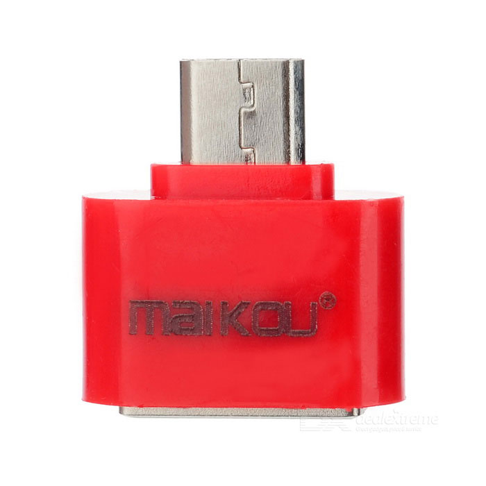 MaiKou Micro USB Male to Female USB OTG Adapter - RedLaptop/Tablet Cable&amp;Adapters<br>Form  ColorRedQuantity1 DX.PCM.Model.AttributeModel.UnitShade Of ColorRedMaterialPlastic + aluminium alloyInterfaceUSB 2.0TypeOthers,Tablet, phone, etc.Compatible BrandDell,HP,Toshiba,Acer,Lenovo,Samsung,Asus,HuaweiTransmission Rate480 DX.PCM.Model.AttributeModel.UnitPacking List1 * OTG adapter<br>